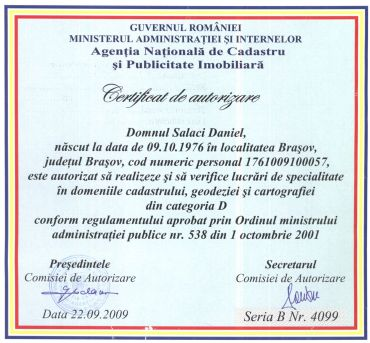Certificat ANCPI GSE
